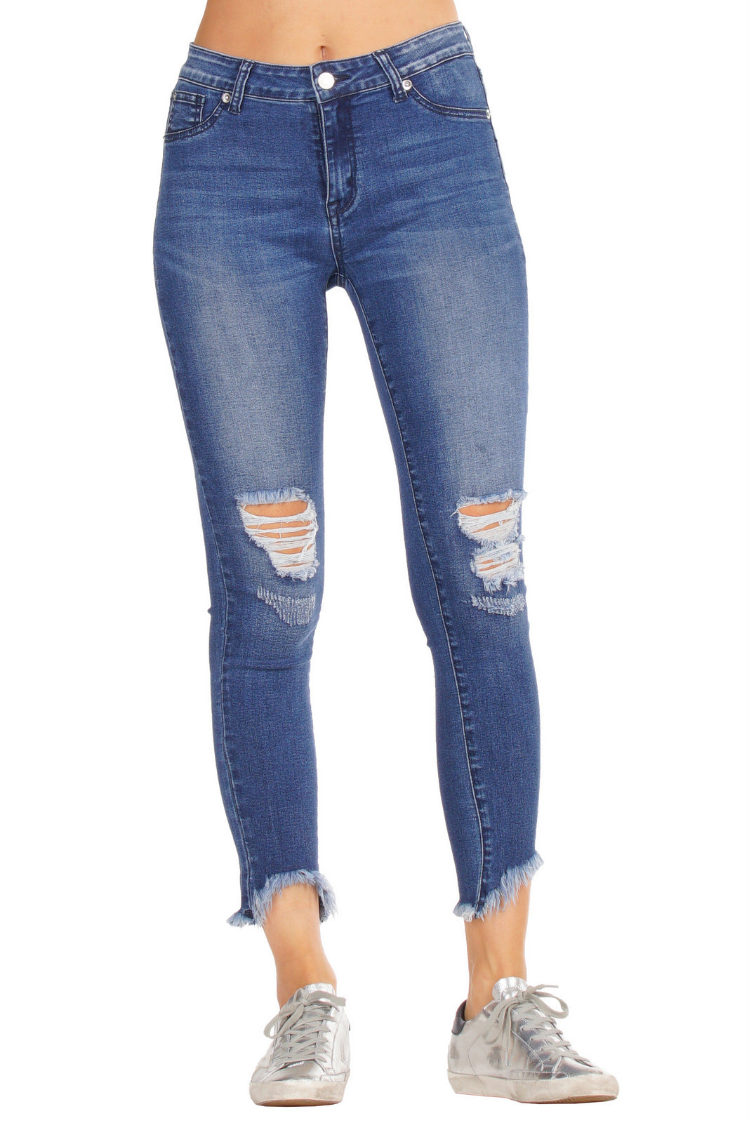 Mid Rise Distressed Skinny Jeans with Shark Tooth Frayed Hem