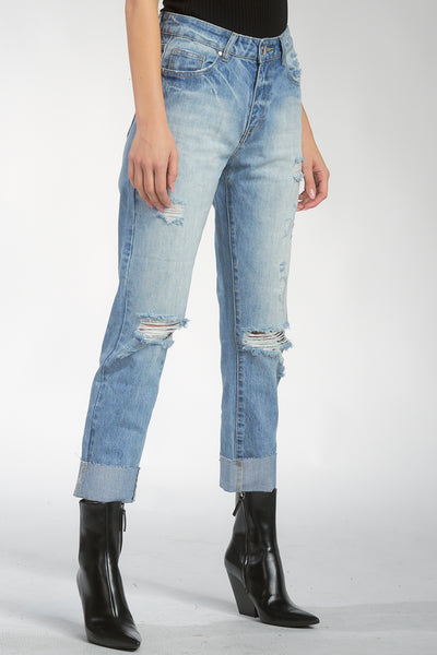 High Rise Boyfriend Jeans with Rips and Cuff Hem