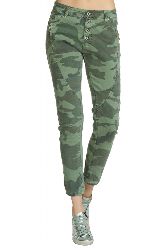 Camouflage Skinny Jeans with Button Fly Closure