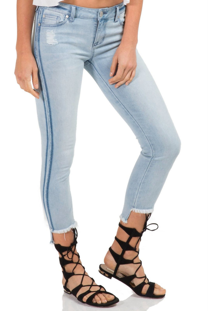 Light Denim Skinny Jeans with Step Hem and Racing Stripes
