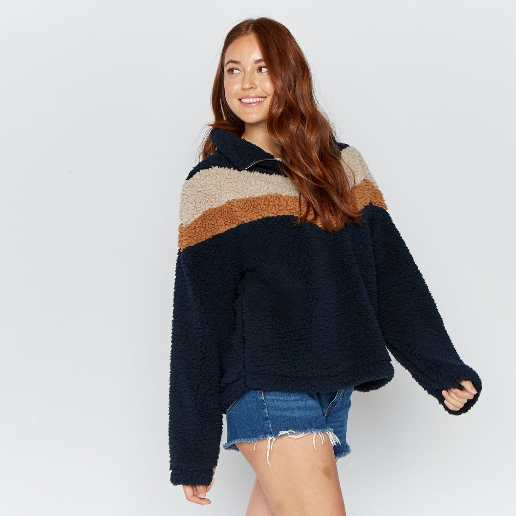 Navy Blue Chevron Stripe Wubby Pullover