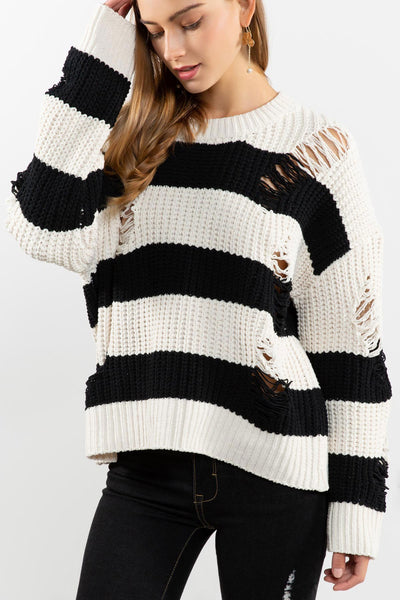 Black and Ivory Striped Chenille Sweater