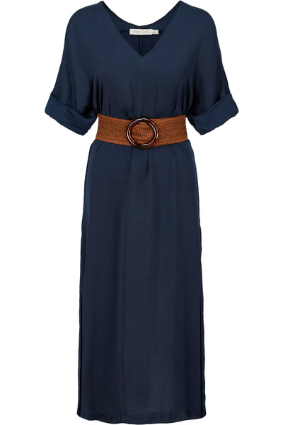 Navy Blue Short Sleeve Belted Dress