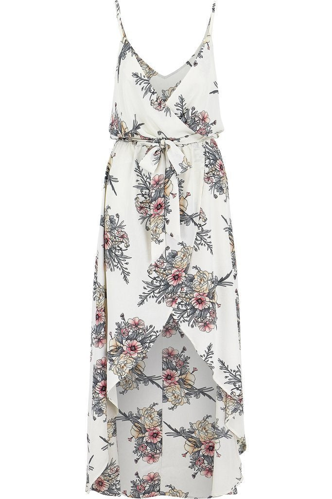 Thin Strap Floral Hi-Lo Midi Dress