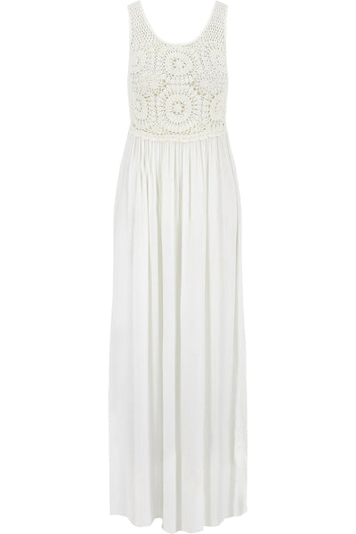 White Maxi Dress with Crocheted Top