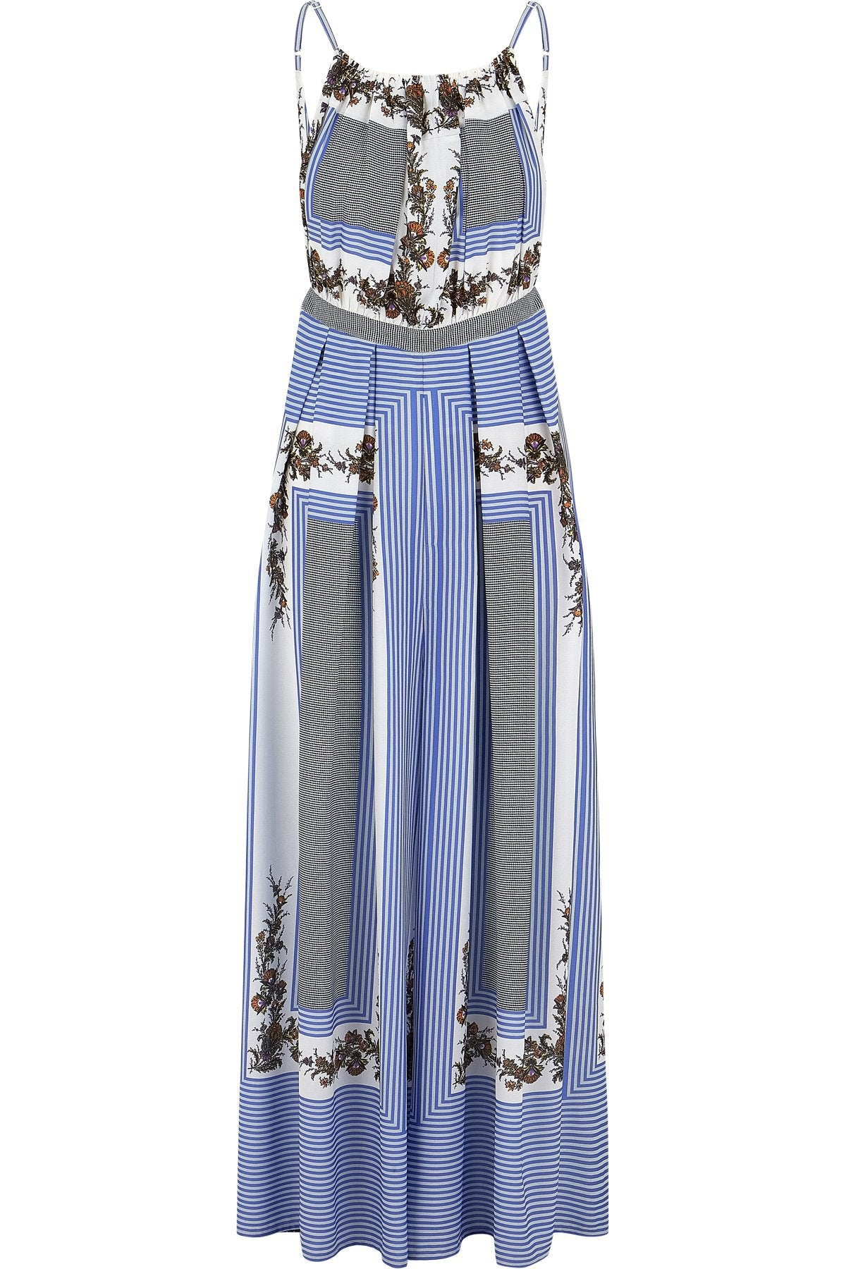Halter Style Blue, Black and White Printed Wide Leg Jumpsuit