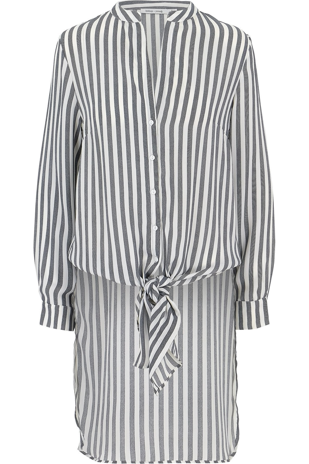 Black Striped Long Sleeve Front Tie Tunic