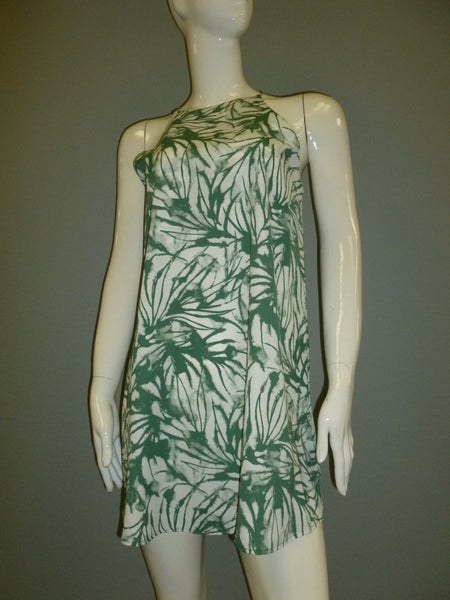 Green Printed Halter Dress