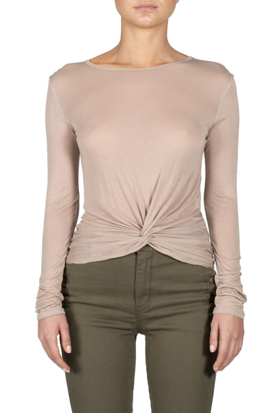 Long Sleeve Top with Front Twist
