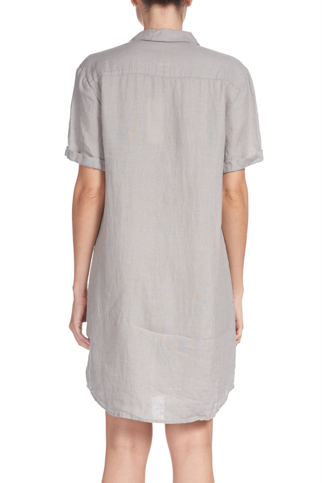 Grey Linen Button Down Dress