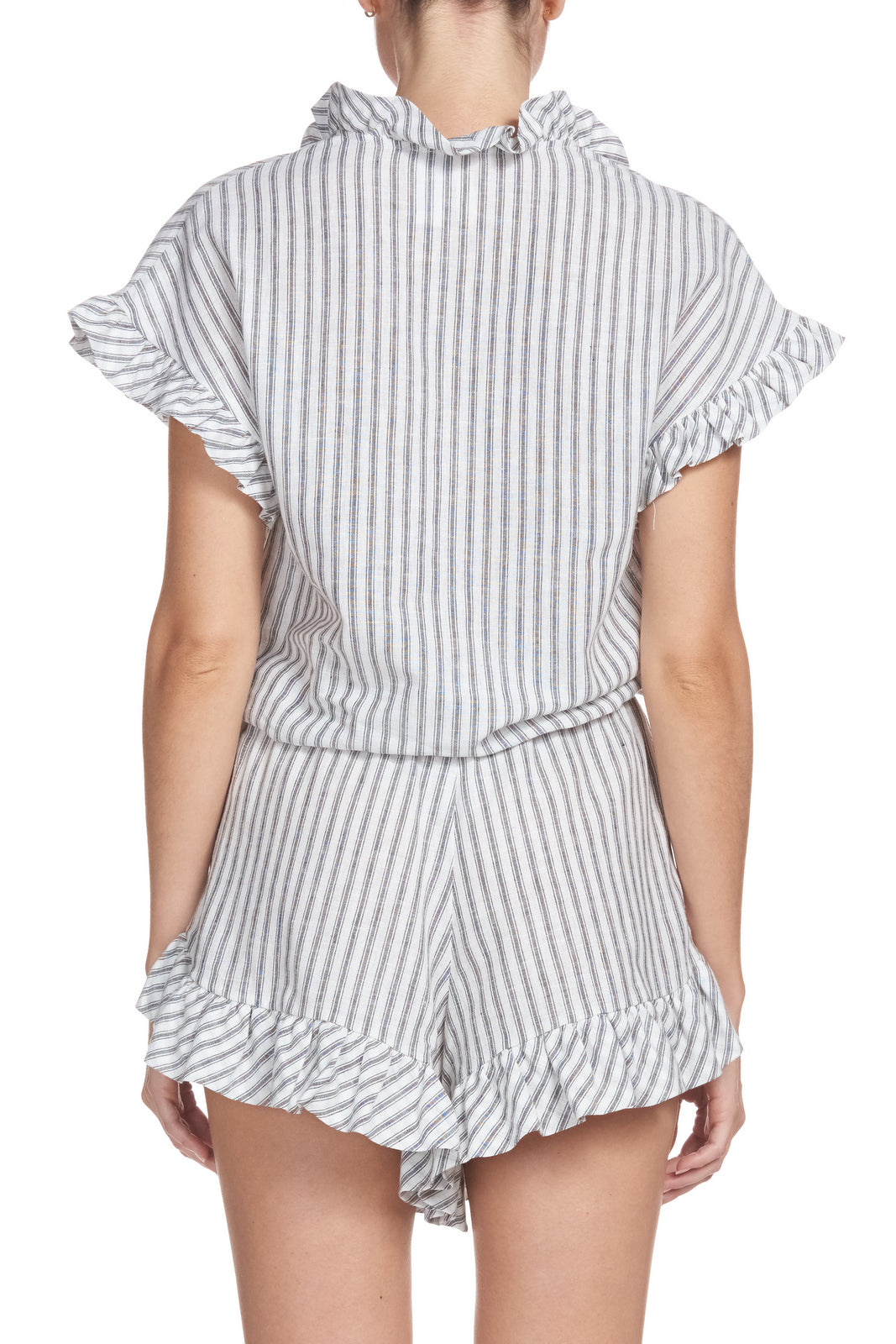 Striped Romper wtih Ruffled Detail