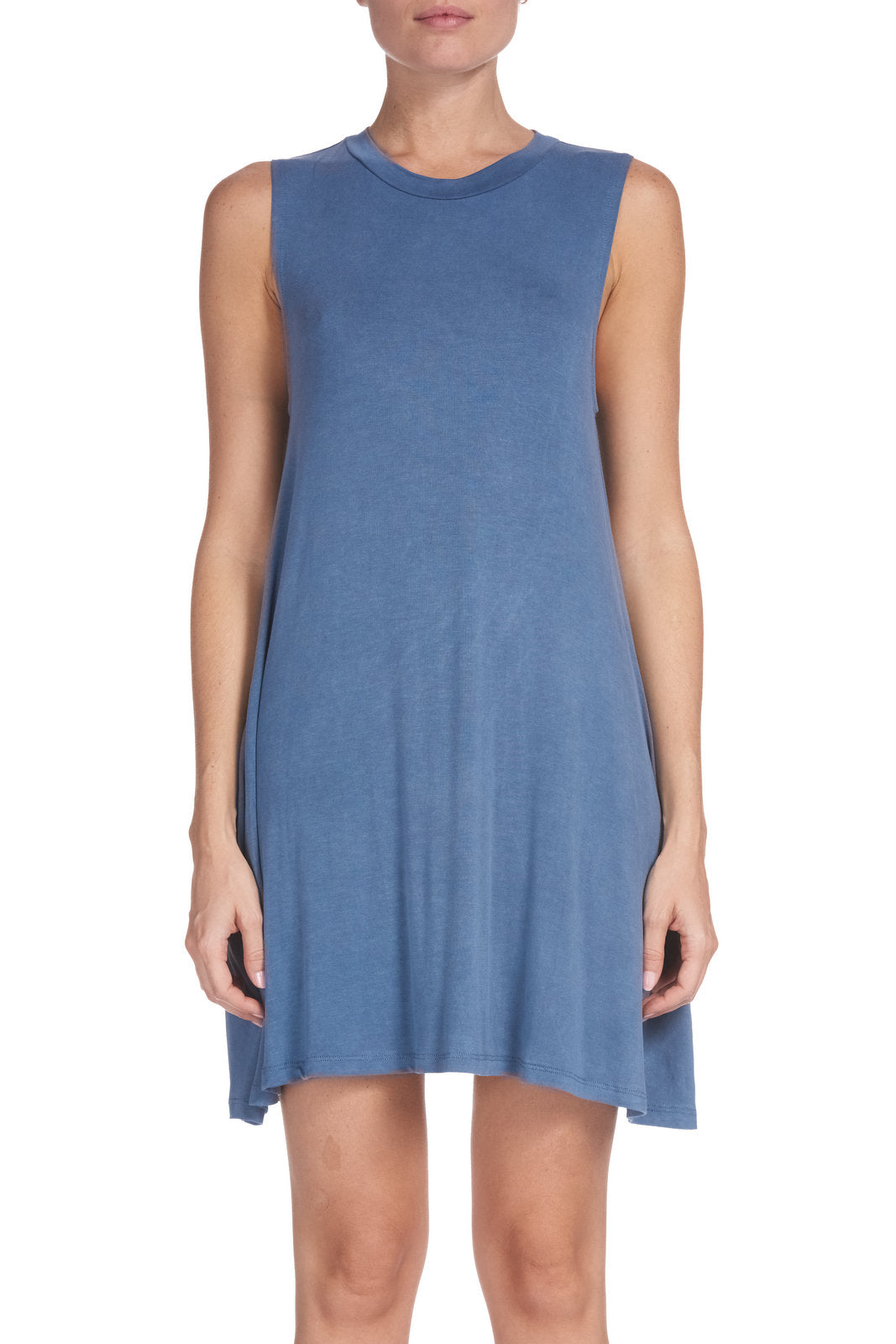 Blue Sleeveless Dress with Pockets
