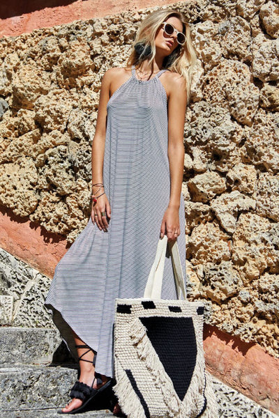 Navy Stripe High Neck Maxi Dress