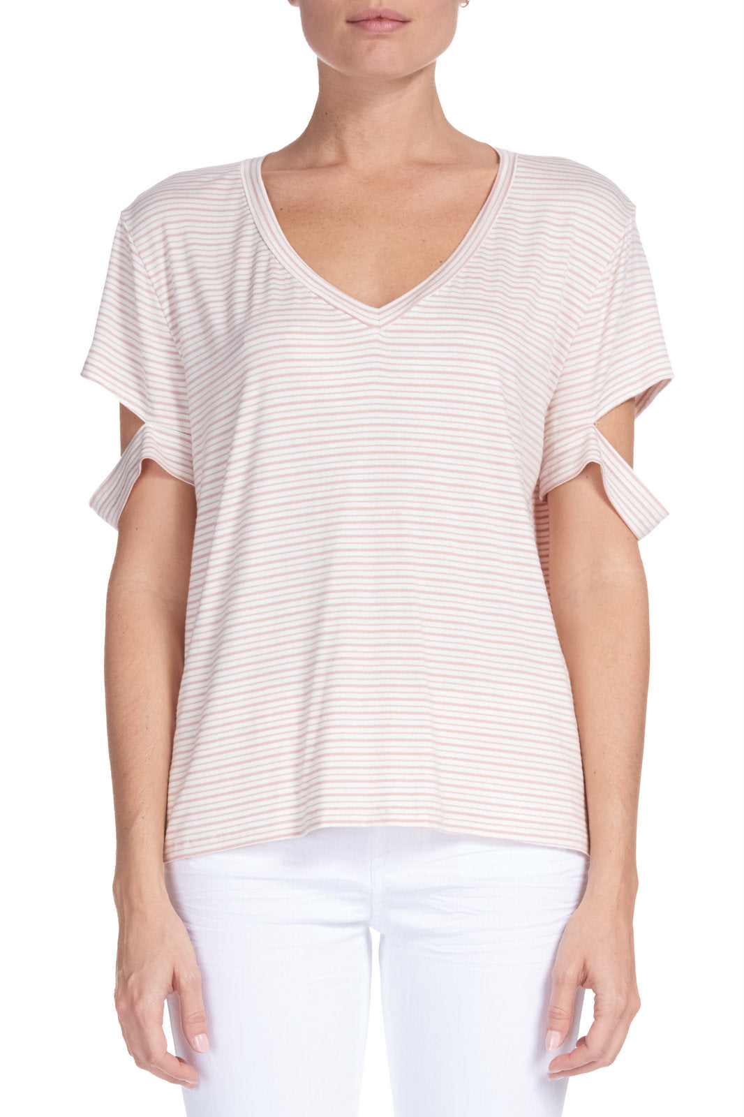 V-Neck Blush Pink/White Stripe Top