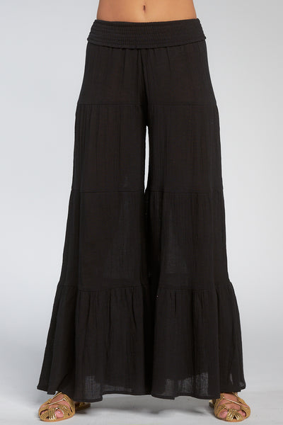 Black Wide Ruffle Leg Pants