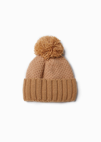 Cashmere Blended Chunky Knit Hat with Pom Pom