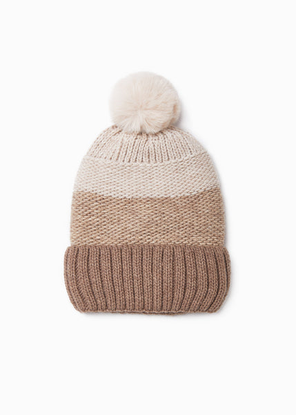 Taupe Tri-Tone Hat with Faux Fur Pom Pom