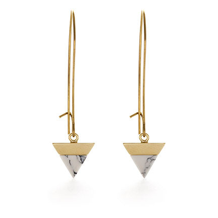 Marble Triangle Earring