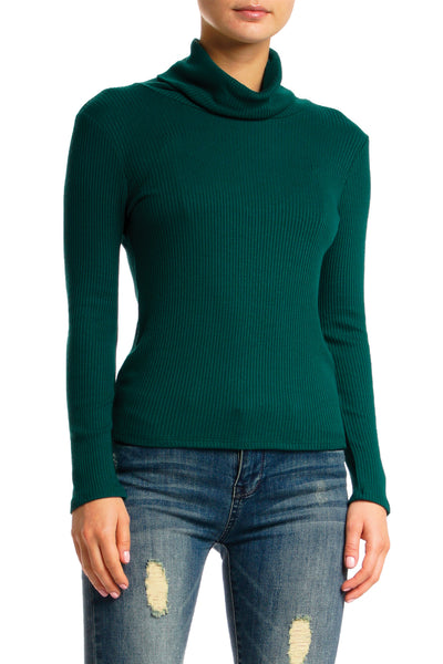 Long Sleeve Ribbed Turtleneck Top
