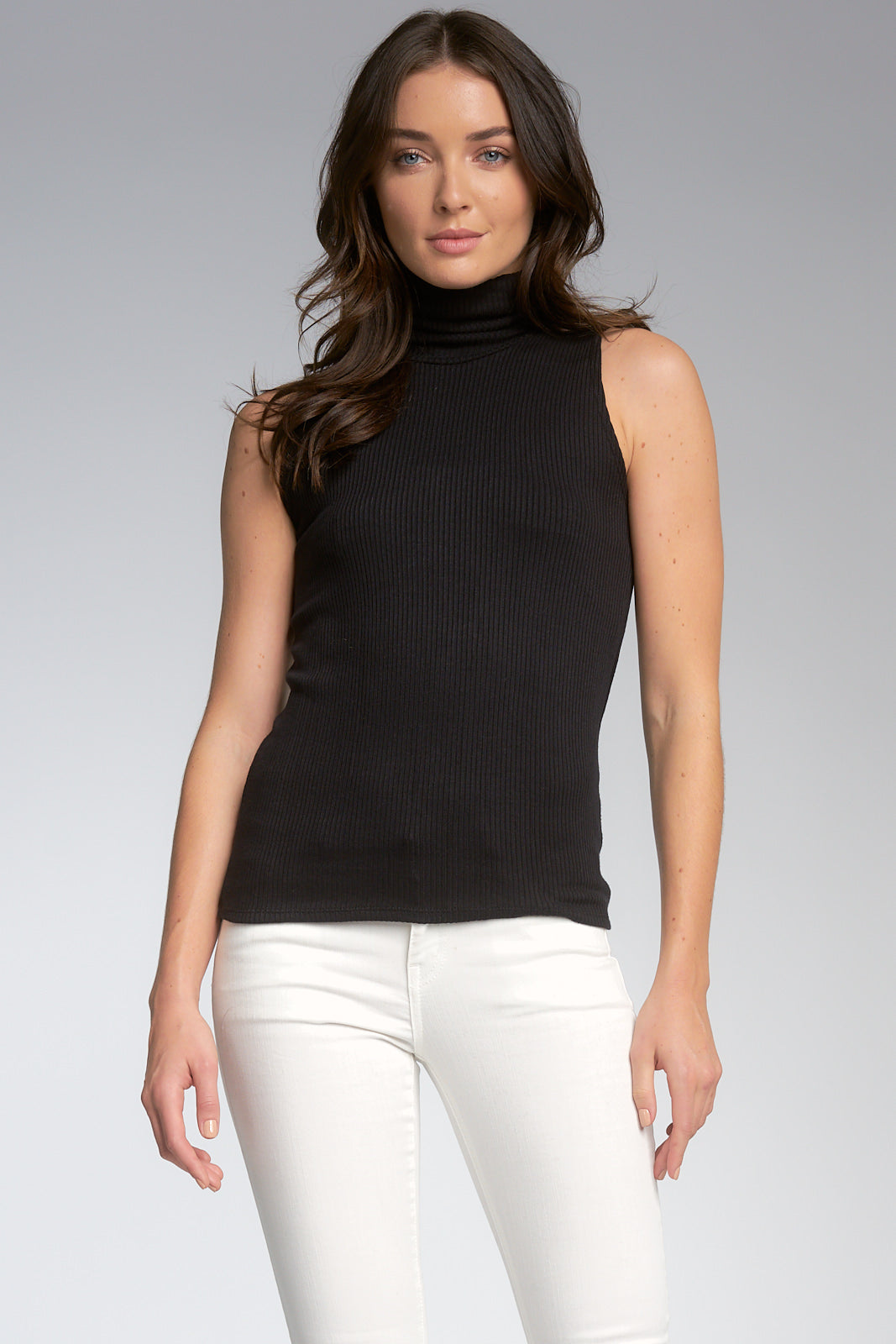 Sleeveless Ribbed Turtleneck Top