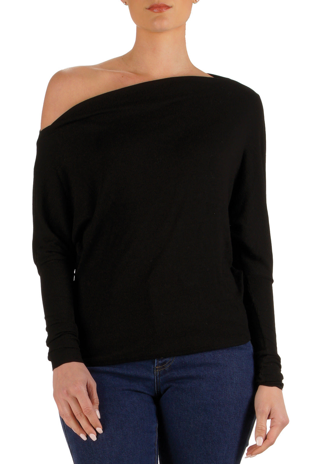Ribbed Teal Off the Shoulder Top with Long Dolman Sleeves
