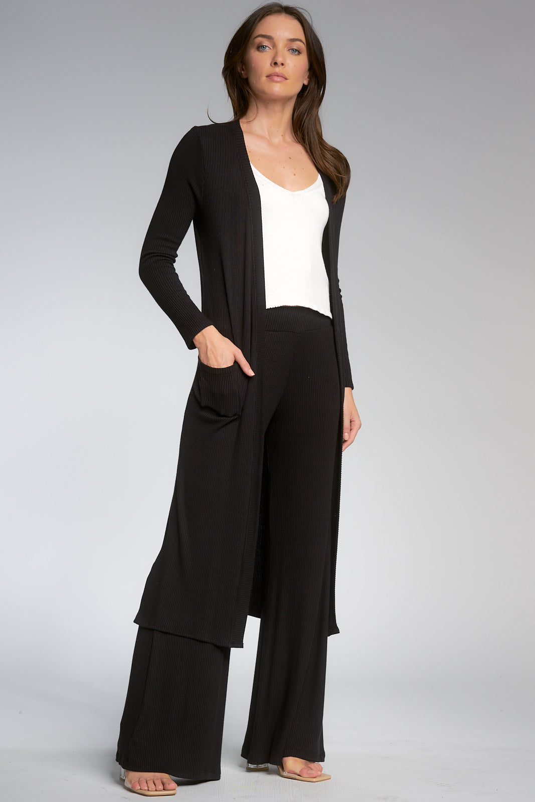 Black Long Sleeve Ribbed Duster