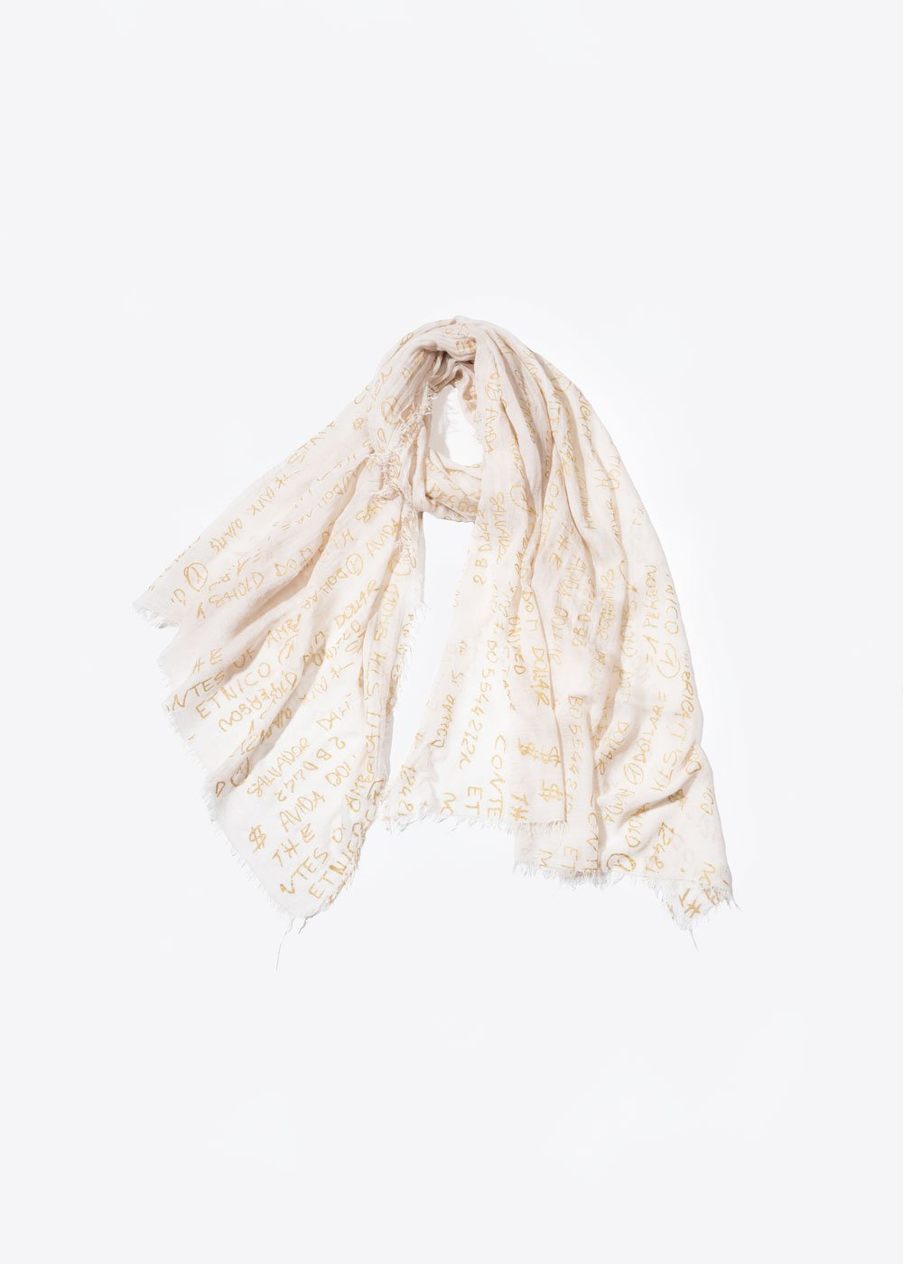 Gold Print Scarf