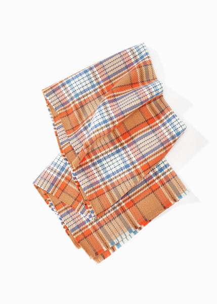 Long Vivid Plaid Scarf
