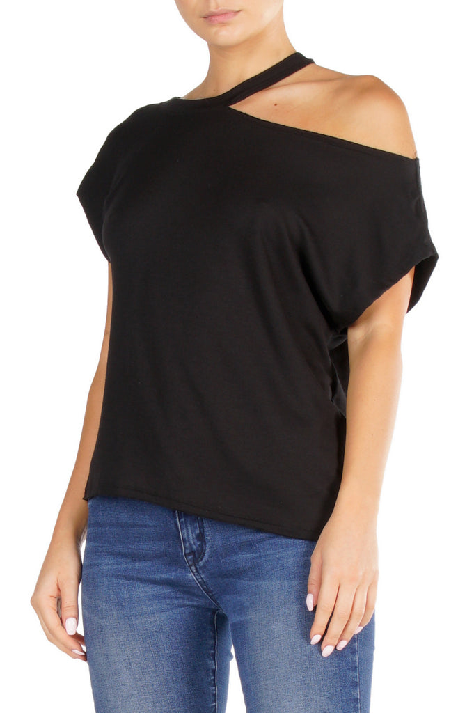 Black Short Sleeve Off the Shoulder Top