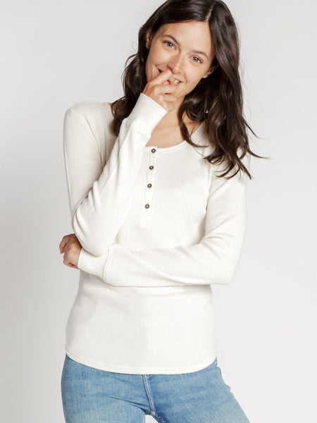 Maeve Waffle Knit Henley Top