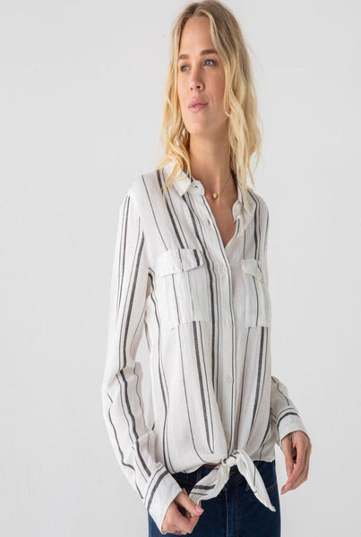 White and Black Stripe Button Down Long Sleeve Shirt