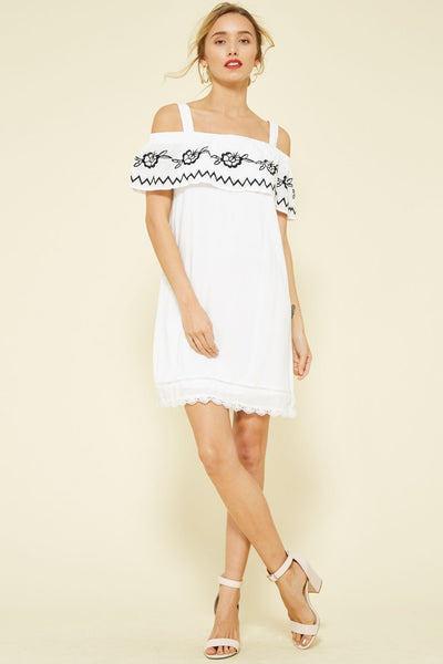 Embroidered Open Shoulder Dress