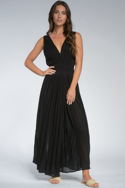 Black Deep V-Neck Maxi Dress