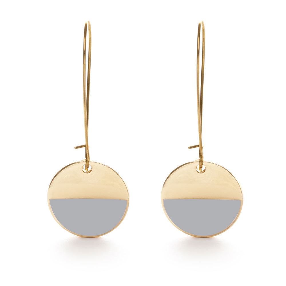 Harbor Mist and Gold Circle Earrings