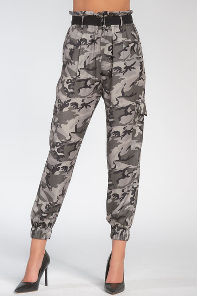Olive Green Camouflage Paperbag Waist Jogger Pants
