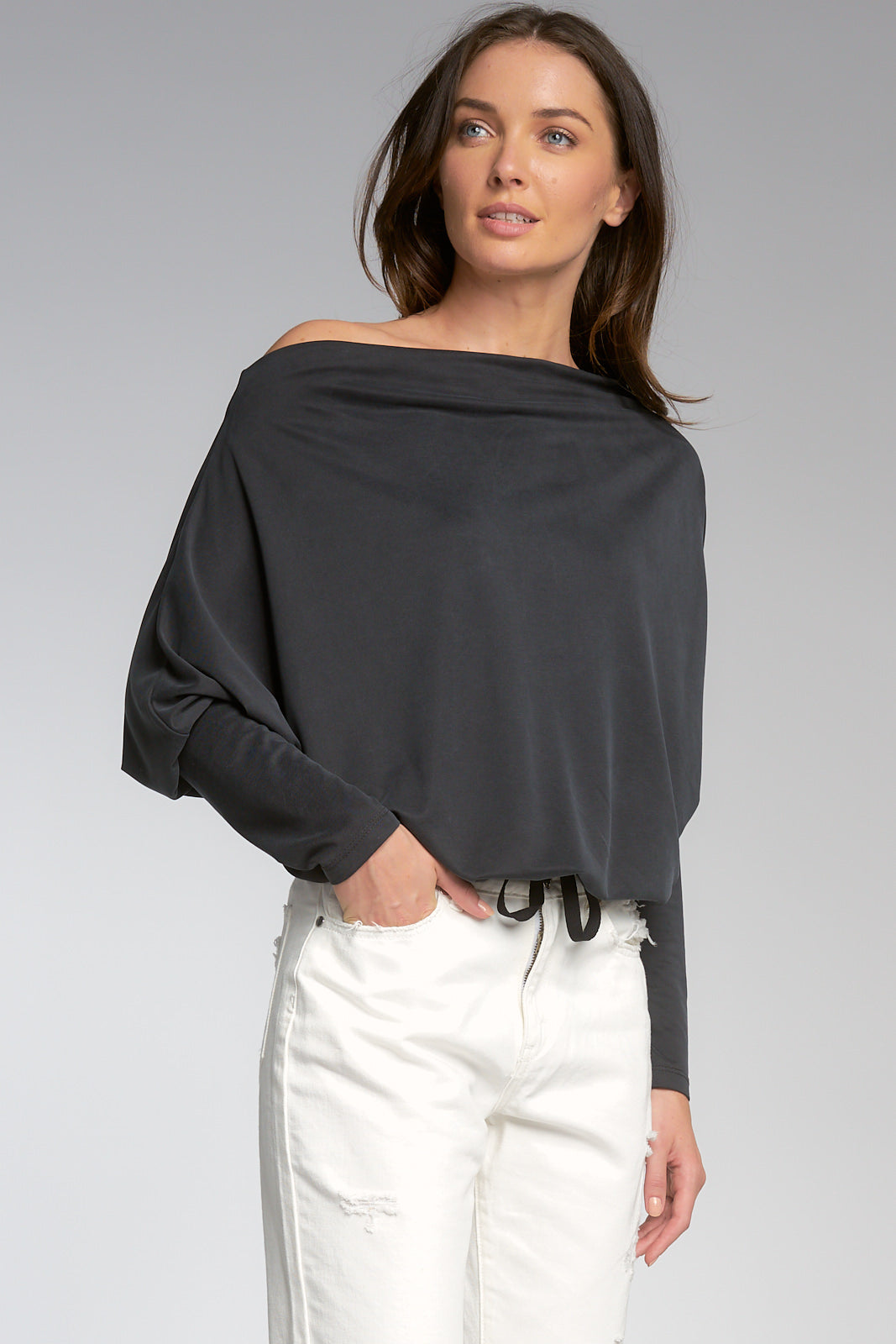 Slate Grey Long Sleeve Tuck Front Top