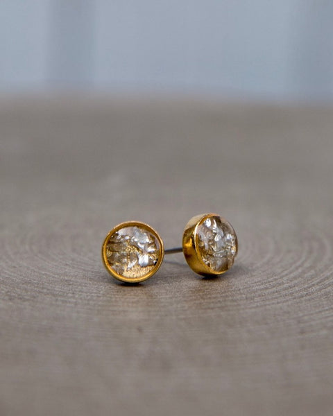 Antique Gold Circle Post Earrings