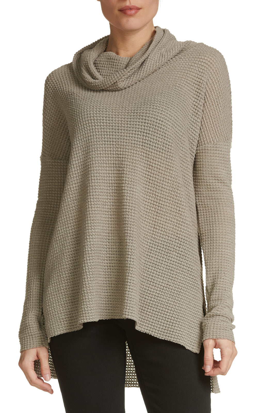 Taupe Cowl Neck Pullover