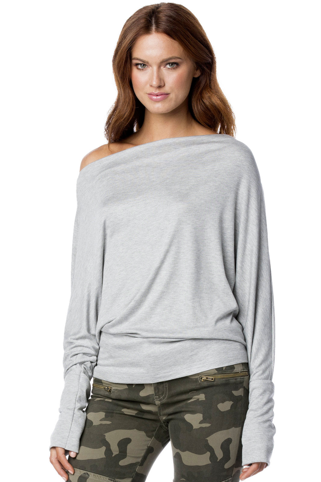 Grey Long Sleeve Boatneck Knit Top