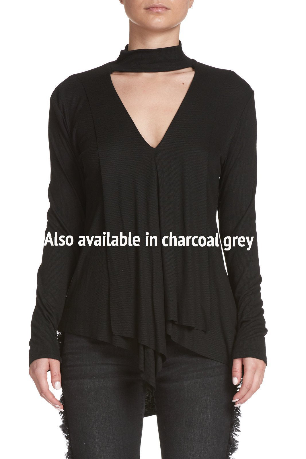 Long Sleeve Top with Keyhole Neck