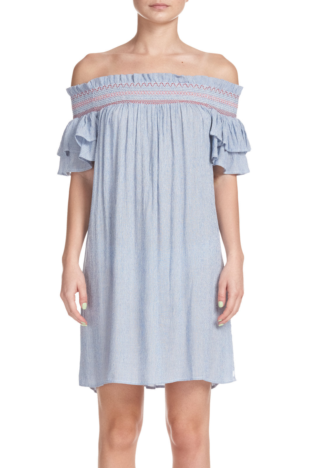 Off the Shoulder Short Dress with Ruffle Sleeves