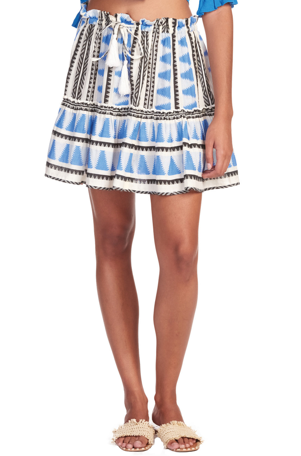 Blue Aztec Print Ruffled Mini Skirt