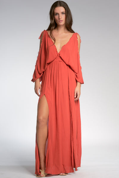 Auburn Butterfly Sleeve Maxi Dress
