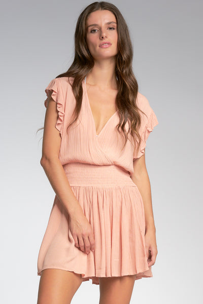 Blush Pink Smocked Mini Dress