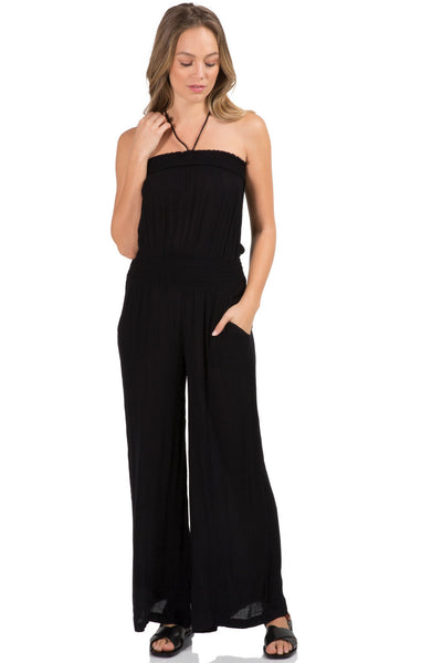 Strapless Wide Leg Long Romper Jumpsuit