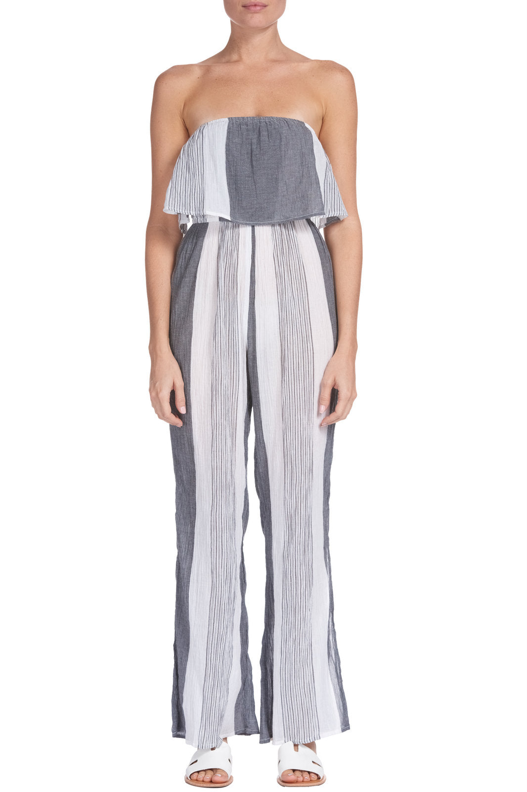 Charcoal Grey and White Stripe Strapless Jumpsuit
