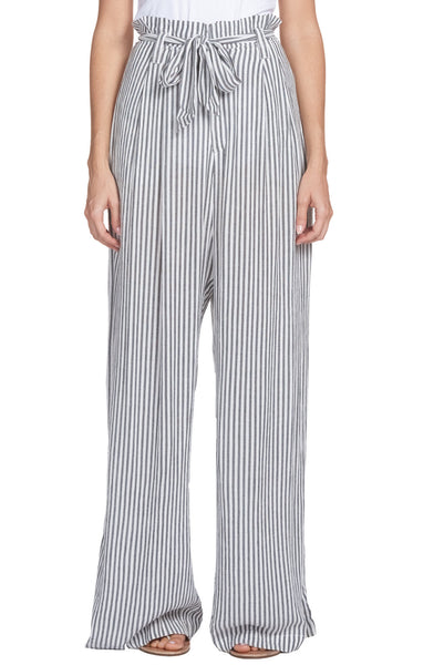 Charcoal/White Stripe Pants with Tie Belt