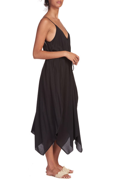Black Spaghetti Strap Midi Dress/Coverup with Self Tie Belt