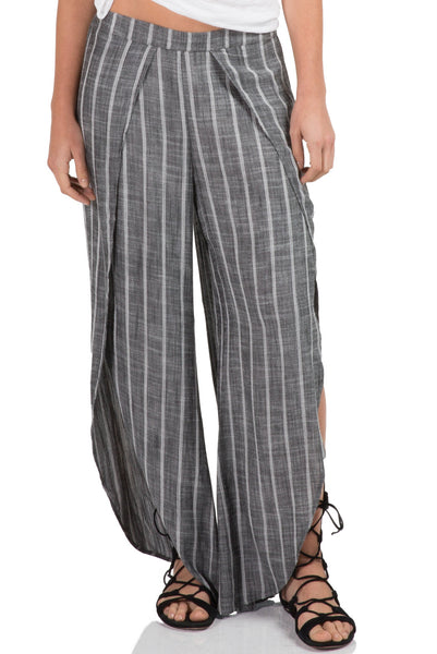 Grey and White Stripe Open Cut Lounge Pants