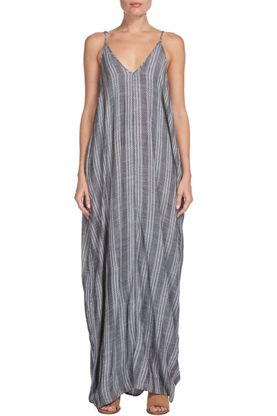 Grey and White Print Spaghetti Strap Maxi Dress